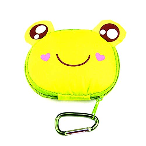 Einkaufstasche niedliches Cartoon-Tier Tragbare Einkaufstasche Faltbare Wiederverwendbare Eco Grocery Shopping Tasche Handtasche mit Haken Reise Totes Papiertasche (Frosch)