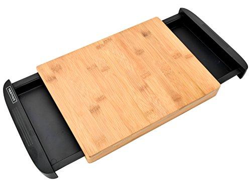 NERTHUS FIH 332 - Tabla de corte de bambú, Tabla de Cocina con bandejas extraibles