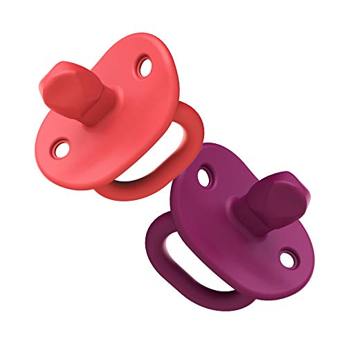 Boon Jewl Orthodontic Silicone Stage 2 Pacifier, Pink, (Pack of 2)