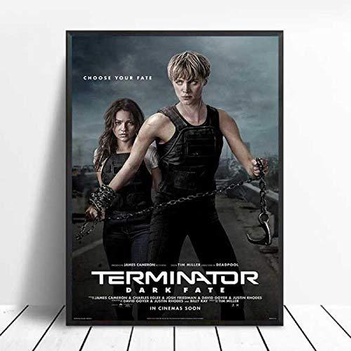 YF'PrintArt Impresiones En Lienzo Terminator Película Clásica Arnold Schwarzenegger Arte De Pared Lienzo Pintura Póster Cuadros De Pared para Sala De Estar Cuadro En Lienzo Sin Marco 50X70Cm -A987
