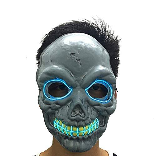JiuXiuHeiShan-MY Halloween De Miedo LED Máscara del Traje Light Up Máscara De Cosplay, El Horror Luz Fría Máscara De Calavera para Adultos Hombres Mujeres Niños Niñas