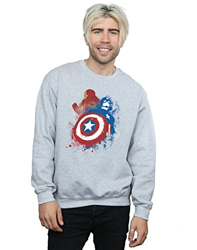 Marvel Homme Captain America Civil War Painted Vs Iron Man Sweat-Shirt XXX-Large Heather Gris