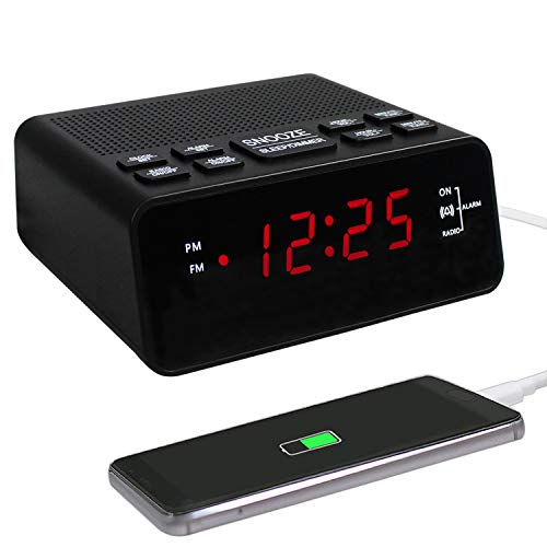 Alarm Clock, FM Digital Alarm Clock Radio for Bedrooms with USD Charger Red Display