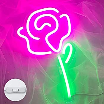 Rose Neon Signs USB Decorative Neon Lights LED Signs for Bedroom and Wall Decor LED Neon Light Neon Sign Light Up for Kids Room Bar Christmas Party Wedding