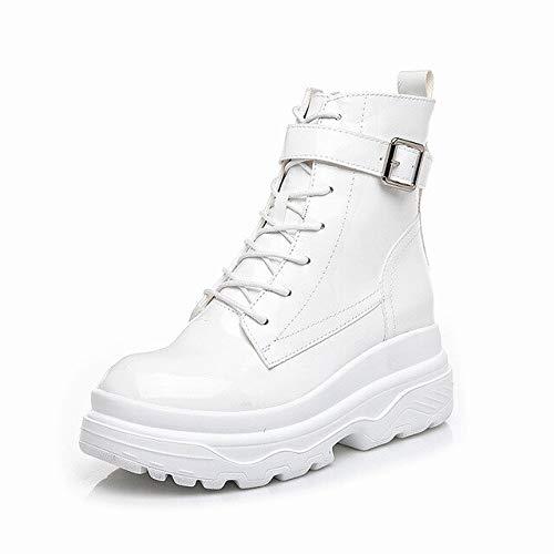 ACWTCHY Patent Lederen Enkel Laarzen Voor Vrouwen Hoogte Toename 8 Cm Platform Laarzen Gesp Band Winter Schoenen Vrouwen