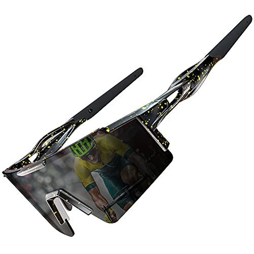 ATTCL Gafas de sol para bicicleta, gafas de sol polarizadas para mujeres y hombres, protección UV, marco grande, negro (Negro + amarillo + negro + sin espejo), Medium