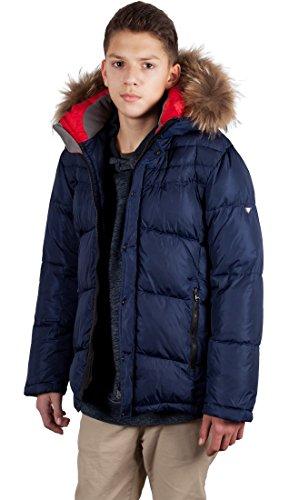 Grimada V908 kinderen jongens winterjas dons-look SNOWIMAGE met capuchon van echt bont