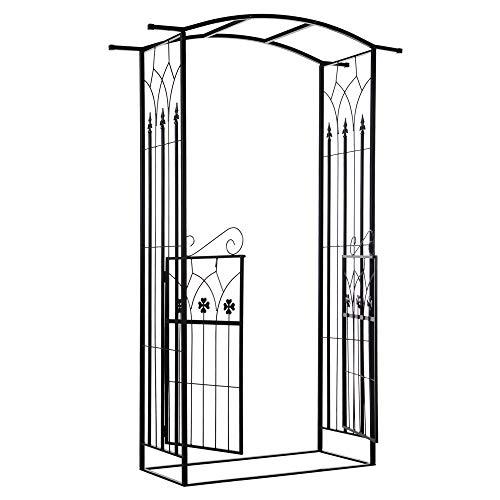 Outsunny Arco de Jardín con Puerta Enrejado de Metal 131x49x212 cm con Cerradura para Plantas Trepadoras Jardín Boda Patio al Aire Libre Color Negro Mate