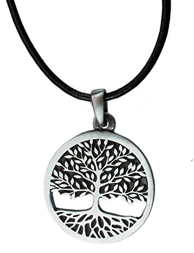exoticdream Tree of Life Celtic Pewter Pendant Religious Flow Creation + 18' Leather Necklace IV