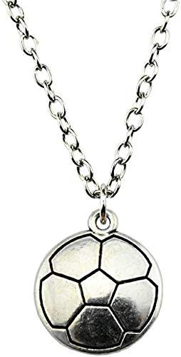 DUEJJH Co.,ltd Halskette Dropshipping Willkommen 22X19Mm Fußball Anhänger Halskette Antik Silber Farbe Halskette Mode