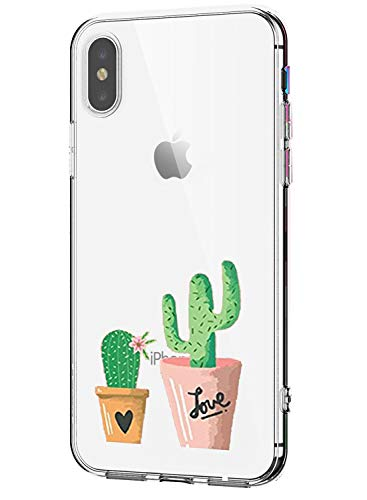Oihxse Mode Transparent Silicone Case Compatible pour iPhone 11 Pro Max Coque, Ultra Mince Souple TPU Mignon Animal Série Protection de Housse Anti-Scrach Bumper Etui -Cactus