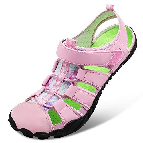 JIASUQI Womens Girl Slip on Outdoor Hiking Water Shoes Sports Beach Diving Sandals for Women Pink 6Women/4.5Men