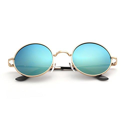 Menton Ezil Lennon Polarisierte UV-Schutz Runde Retro Vintage Hippi blaue Schwarz Linse Gold frame Metall Brillenfassungen Gestell Outdoor für Frauen und Männer
