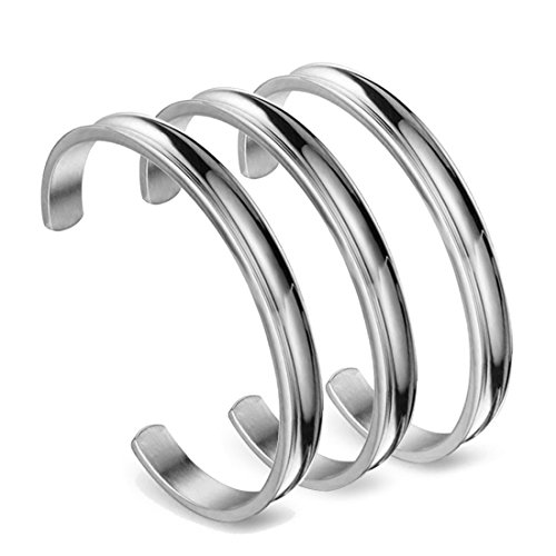 Zuo Bao Hair Tie Bracelet Stainless Steel Grooved Cuff Bangle for Women Girls (3 Pcs Silver)