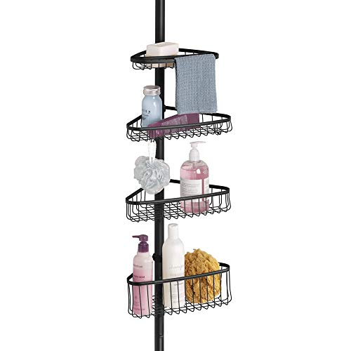mDesign Bathroom Shower Storage Constant Tension Corner Pole Caddy  Adjustable Height  4 Positionable Baskets  for Organizing and Containing Hand Soap Body Wash Wash Cloths Razors  Matte Black