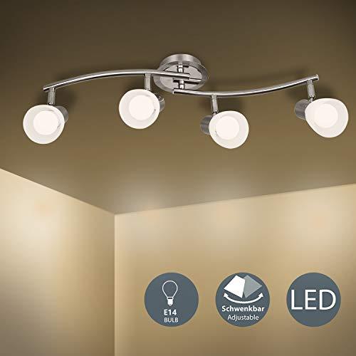 LED Deckenleuchte 4-flammig Deckenlampe, E14 Fassung mit 4 x 5W Led Lampen, Drehbar Deckenstrahler für Wohnzimmer Küche und Schlafzimmer