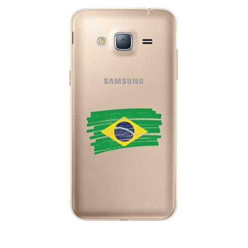 Zokko - Carcasa para Samsung Galaxy J3 2016 de Brasil – Flexible Transparente Tinta Negro