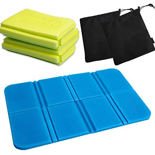 LOVEXIU Estera Plegable portátil 2pcs,Cojines Asiento de Espuma 28cmx38cm,Asiento Impermeable para el Exterior Camping Park Picnic(Verde y Azul)
