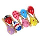 NUOLUX 10pcs 11,5 cm legno Maracas sonaglio giocattoli educativi musicali Shakers (colore ...