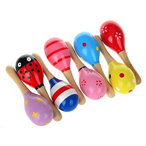 NUOLUX 10pcs 11,5 cm legno Maracas sonaglio giocattoli educativi musicali Shakers (colore casuale)
