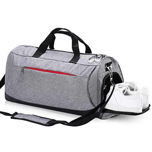 Eocean Dry Wet Depart Duffle Bag Sports Gym Bag with Shoes Compartment, Waterproof Gym Sports Bag for Men and Women (Grey)