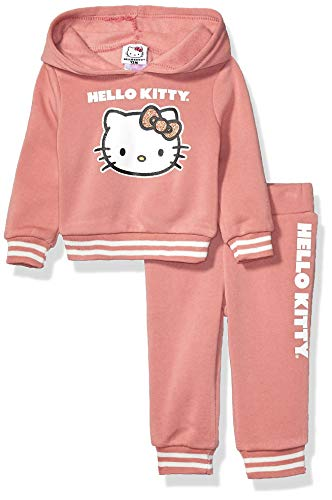 Hello Kitty Baby-Mädchen Girls 2 Piece Hoodie and Pant Active Set Kapuzenpulli, rosa-Dusty pink, 18 Monate