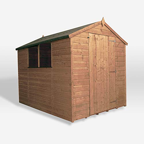 8x6 Wooden Garden Storage Shed, Shiplap Construction Pressure Treated with 15 Year Guarantee, With Windows, Single Door, Apex Roof, Roof Felt & Floor Included, (8 x 6 / 8Ft x 6Ft) By Waltons