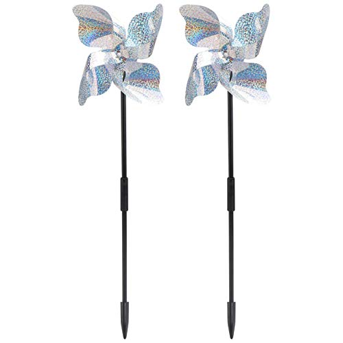Cabilock 2PCS Wind Spinner with Leaves Garden Pinwheel Includes Ground Stake for Outdoor Yard Lawn & Garden, Bird Tool (Silver)