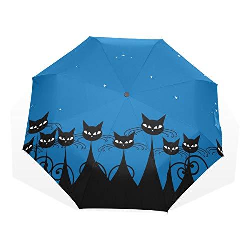 Isaoa Automatique Voyage Parapluie Compact Parapluie Pliable Chat Noir en Bleu Nuit Coupe-Vent Ultra...