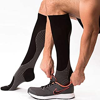 Compression Socks - Knee High Pressure Socks for Men and Women - Blood Clot Compression Socks/Circulation Socks to Reduce Edema and Swelling, DVT & Anti Embolism Stockings Knee High - XL Calf Socks
