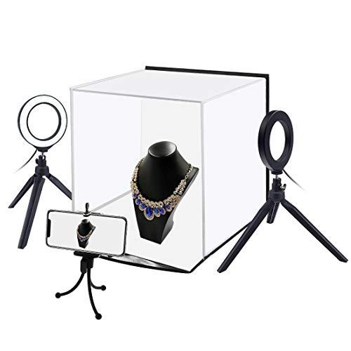 Fotografía Tienda IBHT 30cm plegable portátil ligero foto del anillo de iluminación Estudio de disparo Tienda Kit Box con 6 colores telones de fondo (blanco, negro, naranja, rojo, verde, azul), Despli