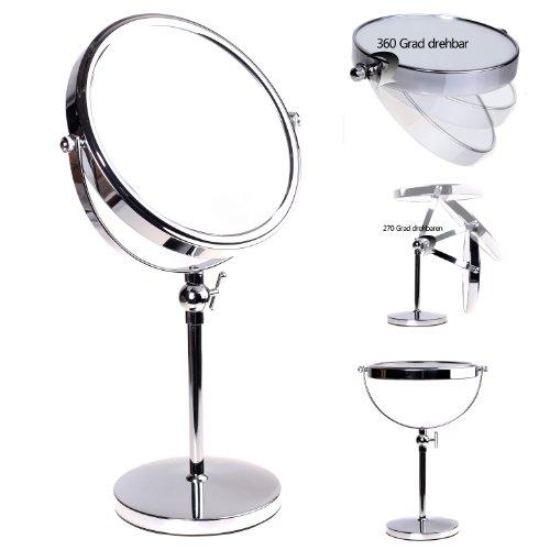 HIMRY Espejo de Baño 8', Regulable en Altura, Aumento 5X para Afeitar y Maquillar, Espejo de Mesa con Doble Cara: 1x y 5X Ampliación, Rotación 360 Grados, 8 Pulgadas, Plateado, KXD3101-5x