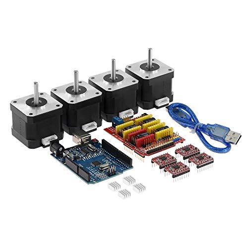 Fanuse Impresora 3D CNC Shield V3.0 Placa para R3 Controlador de Motor Paso una Paso A4988 con Kit de Motor Paso una Paso 4401 Cable USB para Impresora 3D
