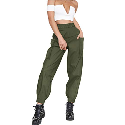 guyueqiqin Women's Cargo Pants, Casual Outdoor Solid Color Elastic High Waisted Baggy Jogger Workout Pants with Pockets(M,Green)