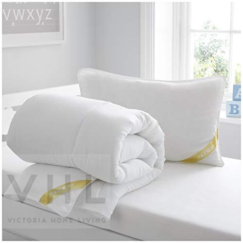 Gaveno Cavailia Microfiber Cot Bed Duvet Hochwertige Bettdecke für Kinderbett mit Kissen, weich, antiallergisch, leicht, 100% Polyester, pflegeleicht, flauschig und warm, 4,5 Tog, weiß, Small (4.5