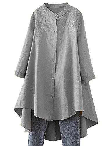 FTCayanz Damen Leinen Bluse Shirt Langarm Stickerei Hemd Elegant Langarmshirt Lang Tunika Tops Grau XL
