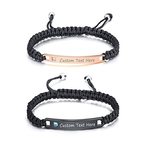 XUANPAI Custom Engraving Adjustable Handmade Braided Rope Matching Couples Distance ID Bracelets Set Gifts for Couples