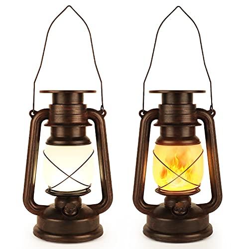 2 Piezas Linterna Solar Colgar, Luces Solares LED, Lámpara de Jardín Vintage con Asa de Transporte Resistente Lntemperie,Linterna Llama para Patio,Camping,Playa,Paisaje, Luces Decorativas