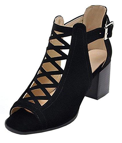 Minetom Damen Hohen Absatz Sandalen Elegant Schnalle Badesandale Flip-Flops Frauen Sommer Plattform Klobige Ferse Büros Schuhe mit Blockabsatz Schwarz EU 42