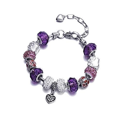 Charms Bracelet Bangle Ajustable Flor Melocotón Corazón Diamante Colgante Pulsera De Aleación De Cristal Con Cadena De Serpiente Plateada Para Mujer Regalo 17Cm