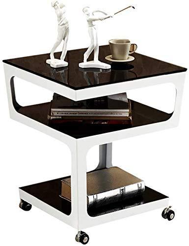 AABBC Tavolini da caffè Bianchi Tavolini da caffè Lampada da caffè Laterale a Tre Livelli Vetro temperato Soggiorno 3tier con Telaio in Metallo Telefono con Ruote Mobile (Dimensioni, 50 * 50 * 55