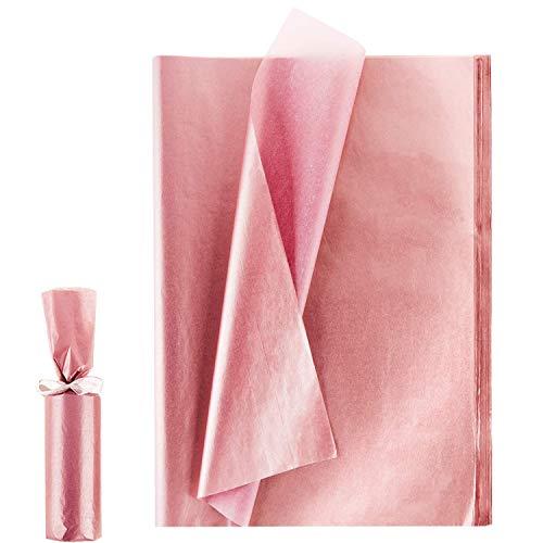 Larcenciel Papel de seda de oro rosa, 100 hojas de papel metálico de regalo para bodas, fiestas de cumpleaños, duchas, artesanías, bricolaje, Navidad