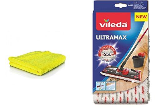 Vileda Ultramax Ersatzbezug Microfibre + Microfaser Universal-Putztuch I Wischbezug Ultramax für Holzböden Parkett Laminat PVC I Bezug für Glatte Böden I Vileda Bodenwischer Bezug I 2er-Set (Modell 2)