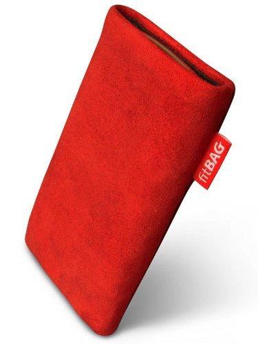 fitBAG Folk Rot Handytasche Tasche aus feinem Wildleder Echtleder mit Microfaserinnenfutter für Vodafone 527