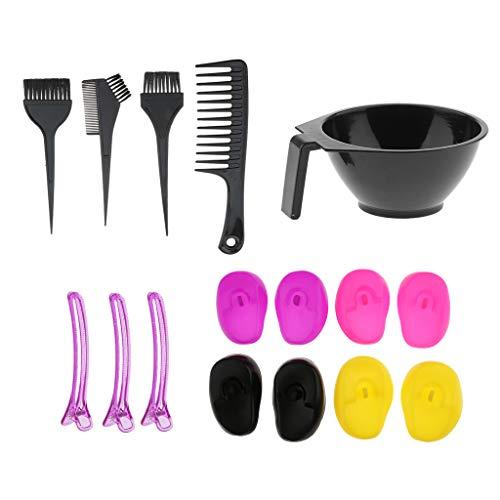 MERIGLARE 16x Pro Barber Hair Brosses 2 Faces Peigne Tint Bowl Ear Covers Kit