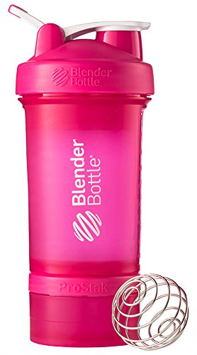 BlenderBottle Prostak Proteïneshaker/dieetshaker (650ml, geschalen tot 450ml, met 2 containers 150ml & 100ml, 1 pillenvak) 650 ml + 150 ml + 100 ml roze