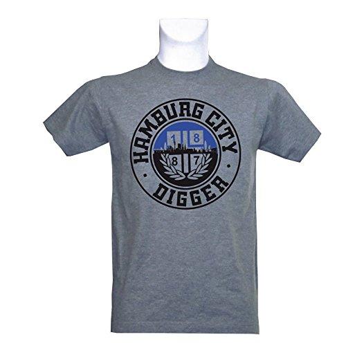 1887 Streetwear T-Shirt Hamburg City Digger, grau meliert
