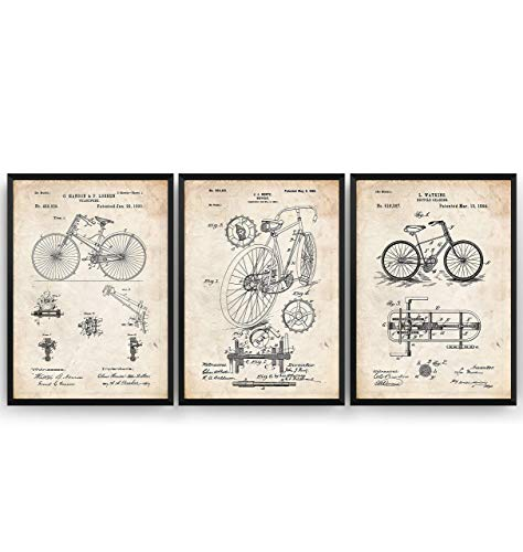 Fahrrad Patent Poster - Set Of 3 Prints - Bicycle Cycling Jahrgang Bild Drucke Kunst Geschenke Zum Männer Frau Entwurf Dekor Vintage Art Blueprint Decor - Rahmen Nicht Enthalten
