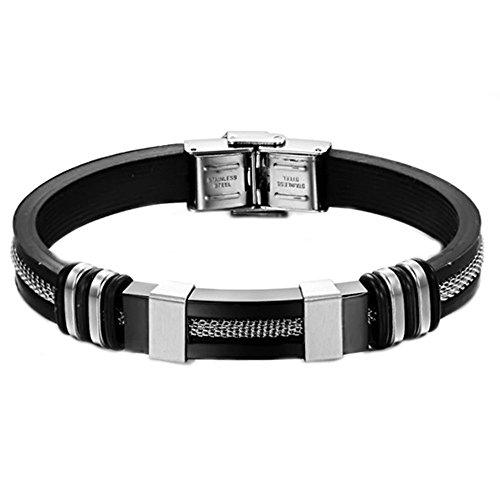 Onefeart Edelstahl Persönlichkeit Mode Silikon Armband fBangle Oder Damen Mädchen 21.5CM Schwarz