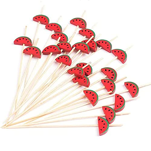 Palillo de fruta desechable de bambú hecho a mano para cócteles con 4.7 pulgadas, apto para bebidas de aperitivos, frutas, Hawai, decoración de alimentos (sandía, 100 unidades)